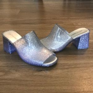 Sparkly Jeffrey Campbell gel mules
